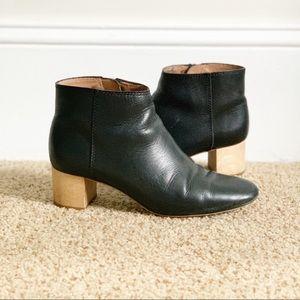 Madewell black booties with wood heel